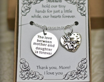 Mom Necklace - TH2 - Mother Necklace - Mother and Daughter Necklace - I love you, Mom - Mother's Day Gift - Mother's Necklace -Gift for Mom