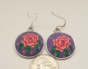 nd-Pink and Purple Floral Polymer Clay and Crystal Round Dangle Earrings