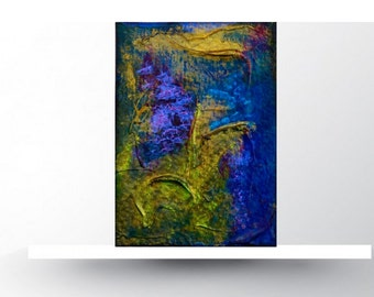 ACEO Card. Original Mixed Media. Seabed abstract. Miniature Art ACEO. Painting original.ACEO original.Limited Edition