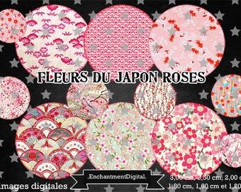 digital images * flower of the Japan * washi sakura pink Liberty vintage collage digital scrapbooking cabochon jewel