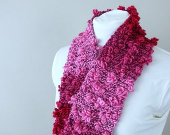 Loopy Pink and Burgundy Ombre Scarflette - Hand Knit by Me for Female Kid