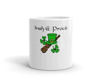 Irish & Proud White Glossy Ceramic Mug