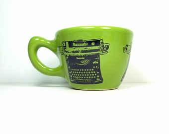 12oz cup with a Burroughs typewriter print, shown here on avocado green glaze - Made to Order / Pick Your Colour