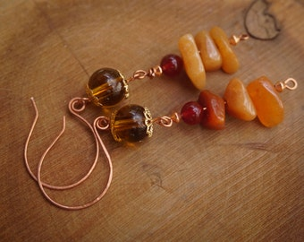Carnelian and Citrine Copper Earrings,Tribal Earrings,Orange Earrings,Gypsy Earrings,Carnelian Jewelry,Rustic Earrings,Boho Chic,Wirewrapped