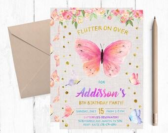 Butterfly Invitations, Butterfly Invitation, Butterfly Birthday Party Invitations, Butterfly Invites, Butterfly Invite, Garden Invitation,