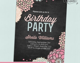Floral Chalkboard Birthday Party Invitation