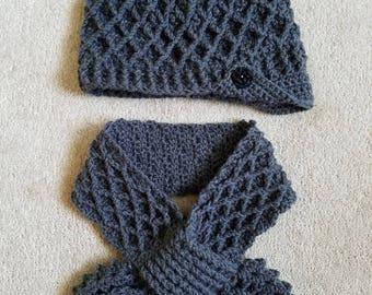 Crochet Neckwarmer Scarf Hat Set