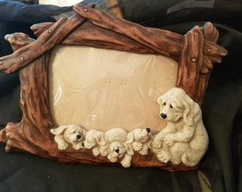 Quarry Critters Puzzled Puppies Vintage Hard to Find Picture Frame