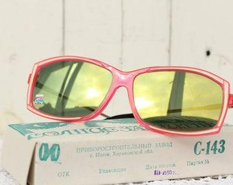 Retro Vintage Red Sunglasses Mirror lenses New old stock Red Frame Sunglasses women Disco Sunglasses For her Retro Mod Sunglasses shades