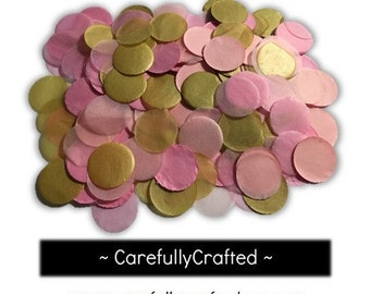 Pink and Gold Tissue Paper Confetti - 1 inch Circles - Wedding, Baby Shower, Parties, Invitations
