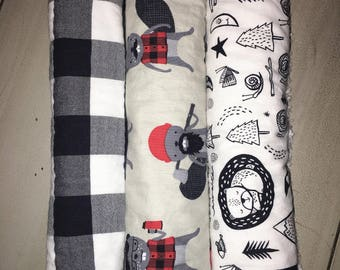 Burp Cloth Set- Plaid Beavers, Checkers, Adventure