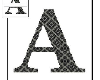 Monogram A ross Stitch Pattern A Initial A Letter cross stitch Wedding Gift House Warming split letter cross Wedding Record Anniversary