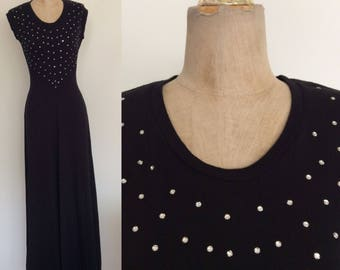 1970's Black Rhinestone Bust Maxi Dress Party Dress Size XS Small Tall Long by MaeberryVintage