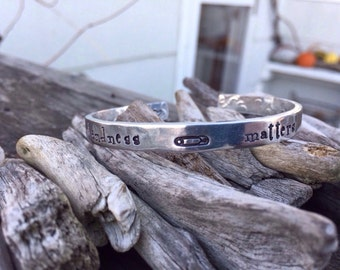 Safety pin jewelry- safety pin cuff bracelet- solidarity jewelry- tolerance bracelet- safety pin accessory- kindness matters cuff