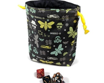 Breaking Bad Dice Bag, Drawstring Pouch, Drawstring Bag, Drawstring Dice Bag, Heisenberg Dice Bag, Dice Pouch, Breaking Bad Drawstring Bag