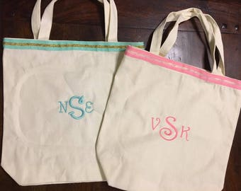 Monogramed Tote Bag with Ribbon Edge