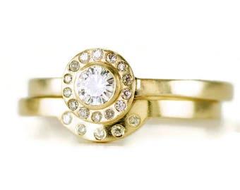 14k Moisssanite Diamond Halo Wedding Rings - Bezel Set Engagement Ring - Contour Shadow Band - Solid 14k Gold Bridal Ring Set