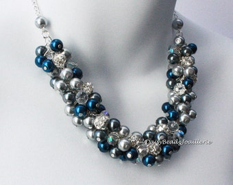 Navy and Grey Cluster Necklace Pearl Cluster Necklace Bridesmaids Necklace Pearl Necklace Navy and Grey Necklace Navy Cluster Necklace
