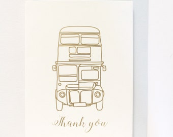 London Bus Thank you card (Gold Foil)