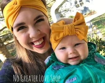 Mustard Turban Headband - Buy One Give One - Baby Headband - Big Bow - Top Knot Headband