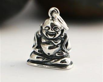 sterling silver buddha charm , solid silver 925 buddha charm pendant , spiritual silver charm