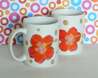 Red Orange Hawaiian Hibiscus Coffee Tea Mug Cup Hand Painted