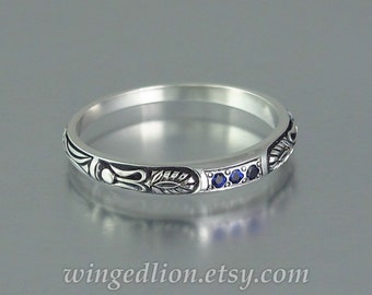 ALEXANDRA silver wedding band with Blue Sapphires