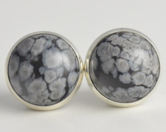 snowflake obsidian 10mm sterling silver stud earrings