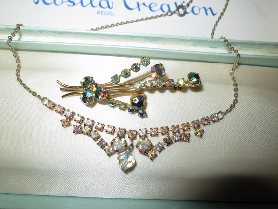 2 lovely Vintage gold tone aurora borealis glass necklace and brooch