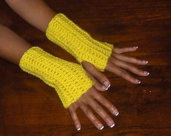 The Summer Sunshine Fingerless Texting Gloves. Crochet Gloves Bright Sunny Yellow. Handmade  Arm Warmers, Fingerless Mittens. Victorian