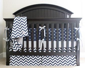 Blue Crib Bedding Set, Baby Boy Nursery Cribset, Navy Blue Polka Dot Bumper Pad, Grey Fitted Crib Sheet, Chevron Crib Skirt and Blanket