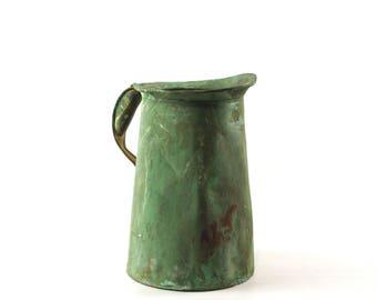 Antique Copper Pitcher, Rustic Farmhouse Decor, Copper Jug, Oil Can Pitcher, Copper Vase, Large Metal Pitcher Vase