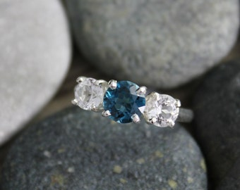 London Blue Topaz and White Topaz Ring - Cool Summer Colors - Recycled Silver - Three Stone Ring - Past Present Future- Ready to Ship SZ 6.5