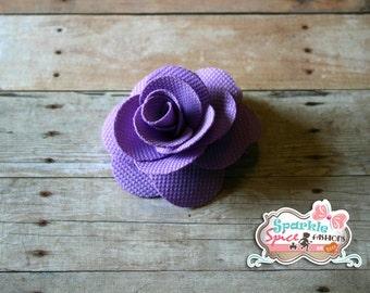 Purple Fabric Rose Hair Clip, Spring Hair Flower Clip, Small Hairclip, Lavendar