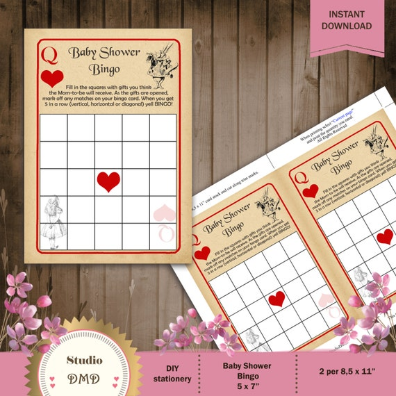 Printable BINGO Baby Shower Game Card Template Alice in