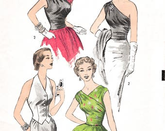 1950s 50s one shoulder blouse or halter top vintage sewing pattern repro PICK YOUR SIZE Bust 30 32 34 36