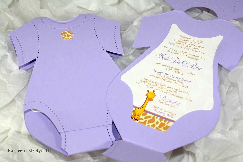 Onesie Baby Shower Invitation Baby Announcement Giraffe