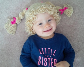 CABBAGE PATCH hat - cabbage patch kid inspired hat - crochet cabbage patch kid hat - crochet cabbage patch wig