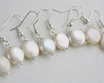 Set of 5,Bridesmaid gifts,fresh water Coin Pearl Earrings,Bridal jewelry,wedding jewelry,Sterling silver,bridal jewelry