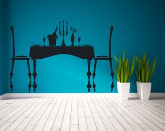 Wall Decal Sticker Restaurant Table Dinner Romantic Champagne Candles 306t