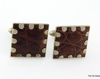 Vintage Swank Cufflinks Alligator Skin Brown 1950s