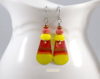 Handmade Earrings, Paint and Resin Earrings, Artisan Earrings, Boho Earrings, Silver Earrings, Yellow Orange Earrings, Candy Corn