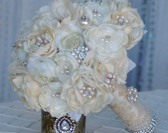 FULL PRICE Gatsby Brooch Bouquet FREE Boutonniere Fabric flower Ivory Champagne Cream