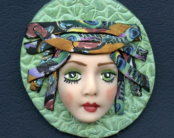 Face cab  Caned hat OOAK Polymer clay Detailed Face    Greeen  Abstract ANDF 2