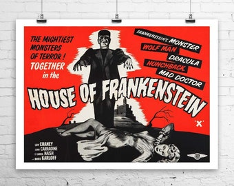 House of Frankenstein 1944 Vintage Horror Movie Poster Rolled Canvas Giclee Print 30x24 in.