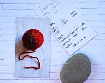 gift card, gift tags, set, knitting gift tags, Hand Made for you, crochet gift tags, fiber care tags red