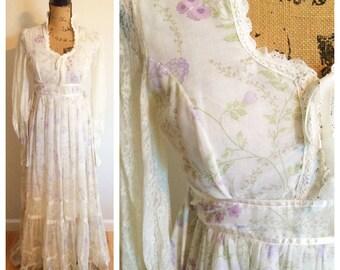 70s Formal Gunne Sax Hippie Corset Floral Spring Maxi Dress