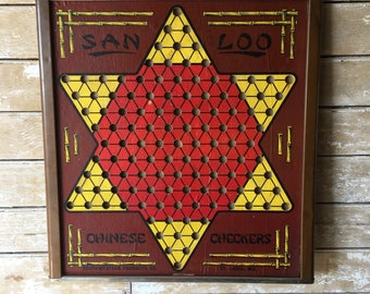 Vintage -Antique Chinese Checker Game Board