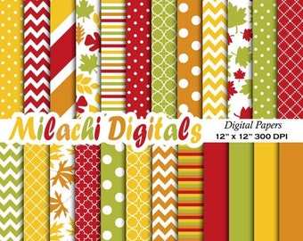60% OFF SALE Fall digital paper, Thanksgiving scrapbook papers, leaf wallpaper, autumn background - M388