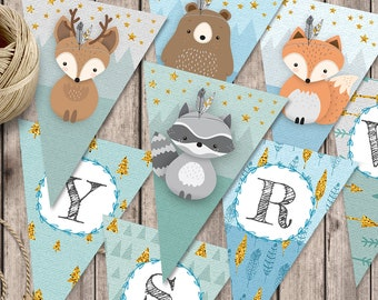 Woodland flag banner, Nursery banner, Printed name garland, Woodland name banner, Custom garland, Woodland baby banner, name bunting, Giclee